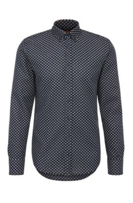 Patterned slim-fit shirt in cotton Jacquard: 'Epreppy', Dark Blue