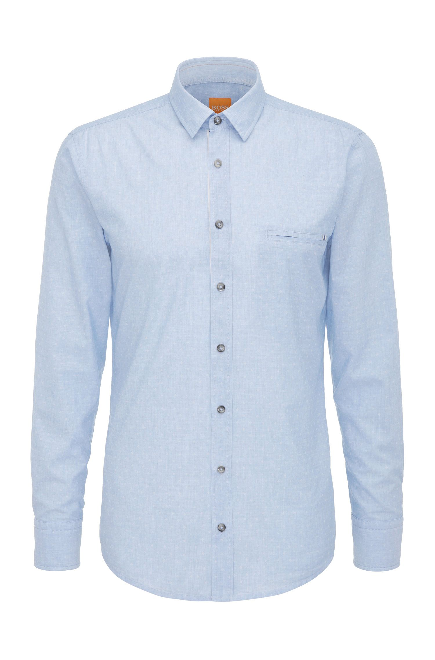 Camicia regular fit in cotone con motivo a rombi: 'Elvedge'