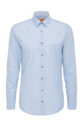 Camicia regular fit in cotone con motivo a rombi: 'Elvedge', Celeste