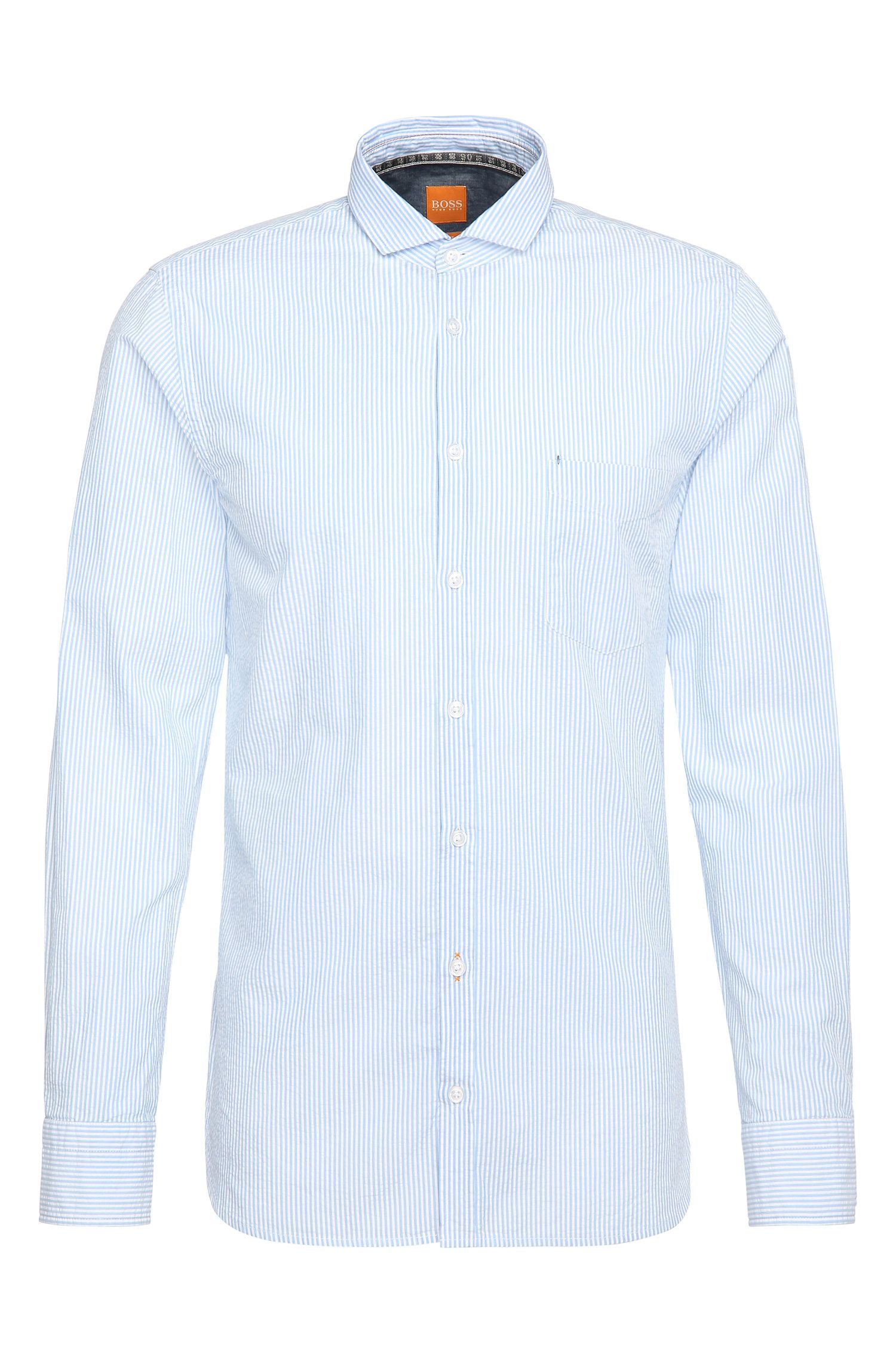 Chemise Slim Fit en coton à motif à rayures: «Cattitude»