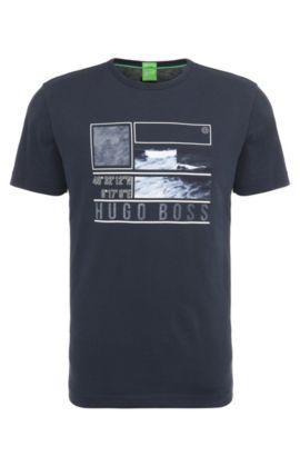 Maglietta in cotone regular fit con stampa: 'Tee 4', Blu scuro