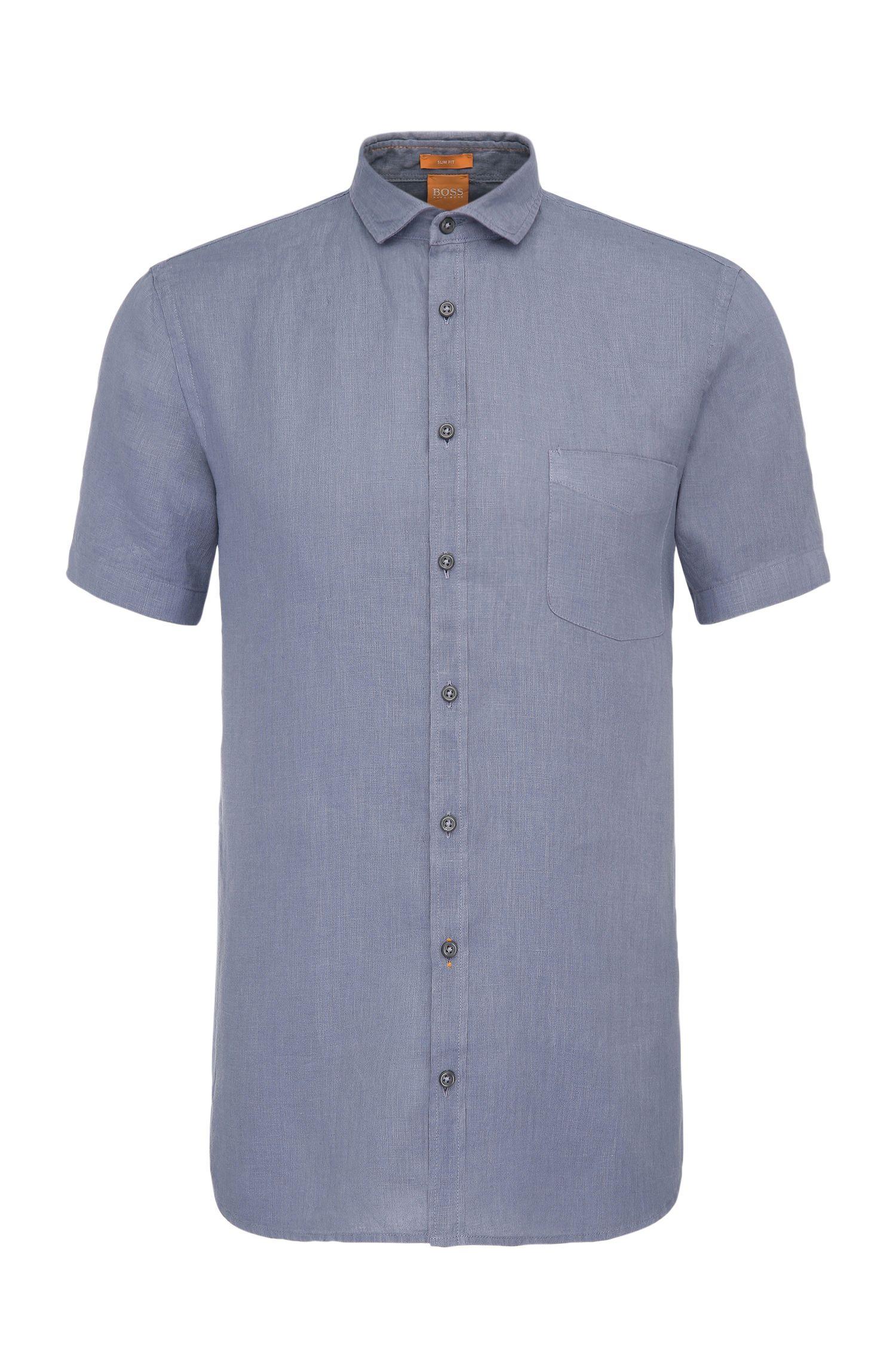 Camicia a maniche corte slim fit in lino lavorata: 'Cattitude-short'