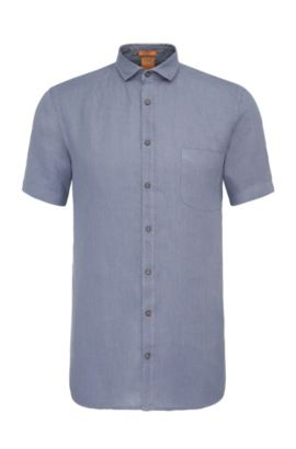 Slim-fit short-sleeved shirt in textured linen: 'Cattitude-short', Dark Blue