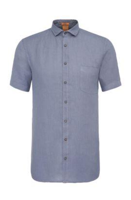 Camicia a maniche corte slim fit in lino lavorata: 'Cattitude-short', Blu scuro