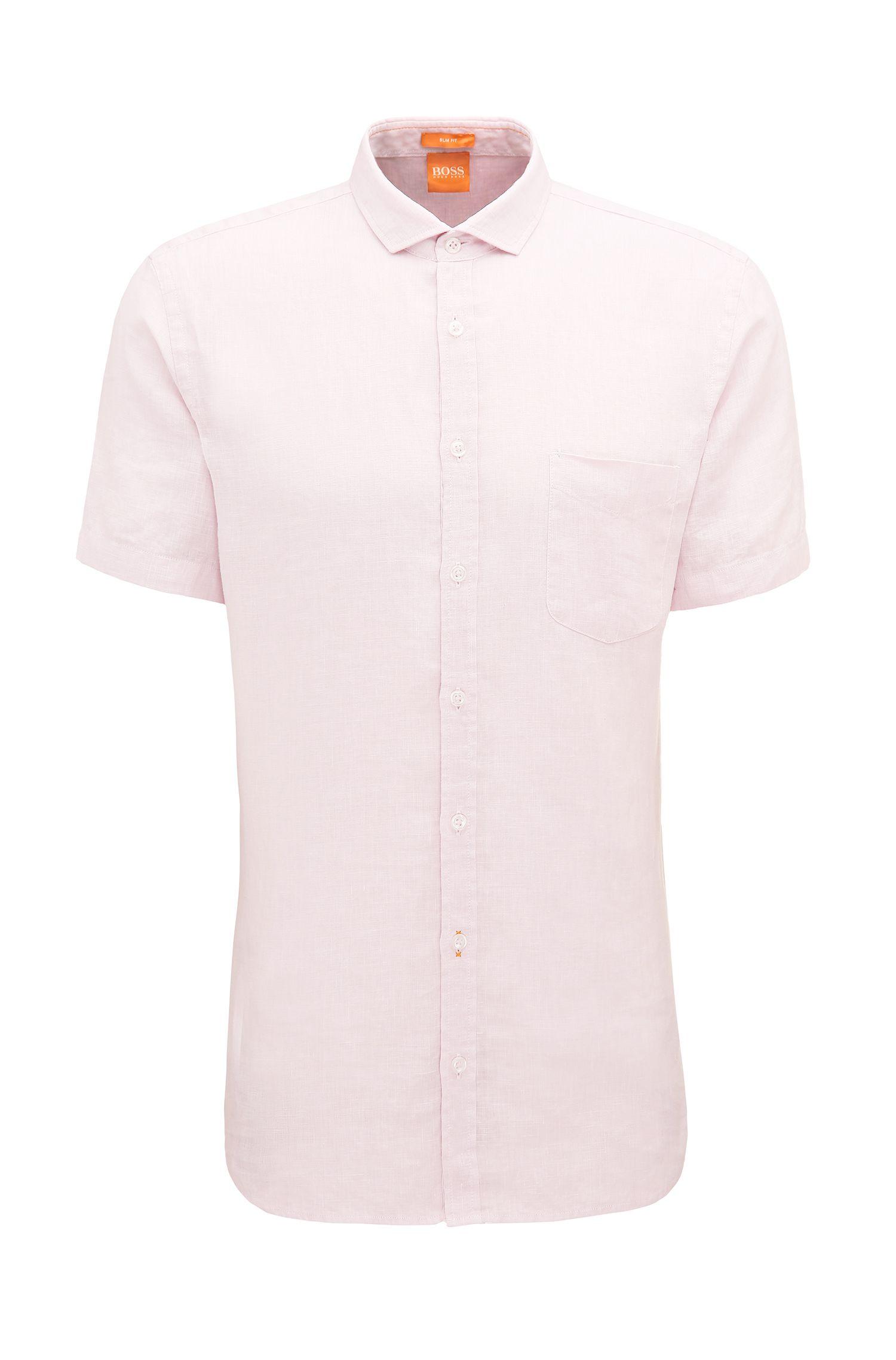 Slim-Fit Kurzarm-Hemd aus Leinen mit Textur: ´Cattitude-short`