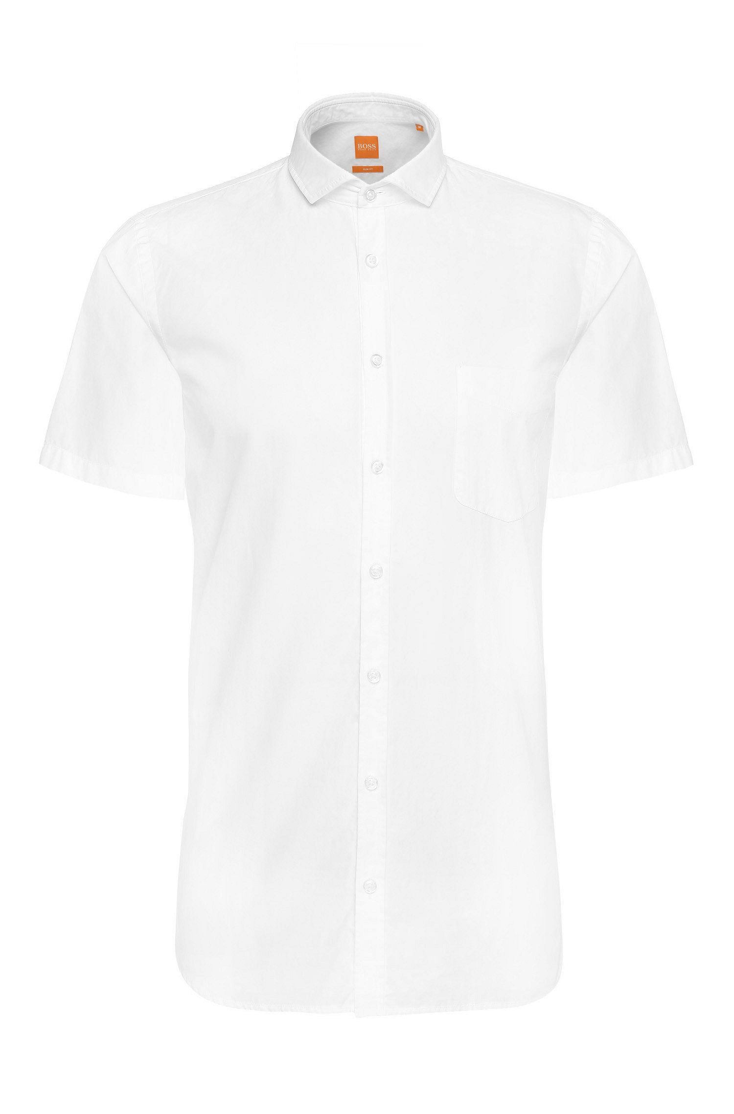 Slim-fit short-sleeved shirt in cotton: 'Cattitude-short'