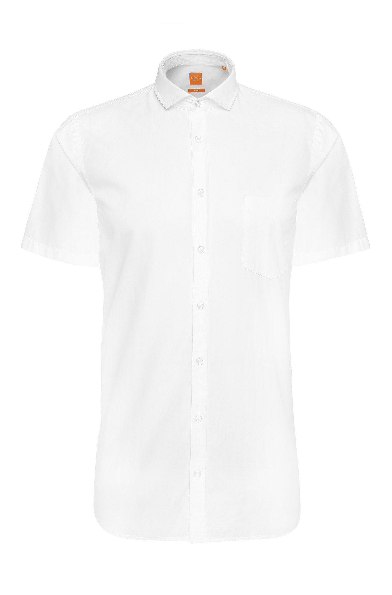 Slim-fit overhemd van katoen met korte mouwen: 'Cattitude-short'