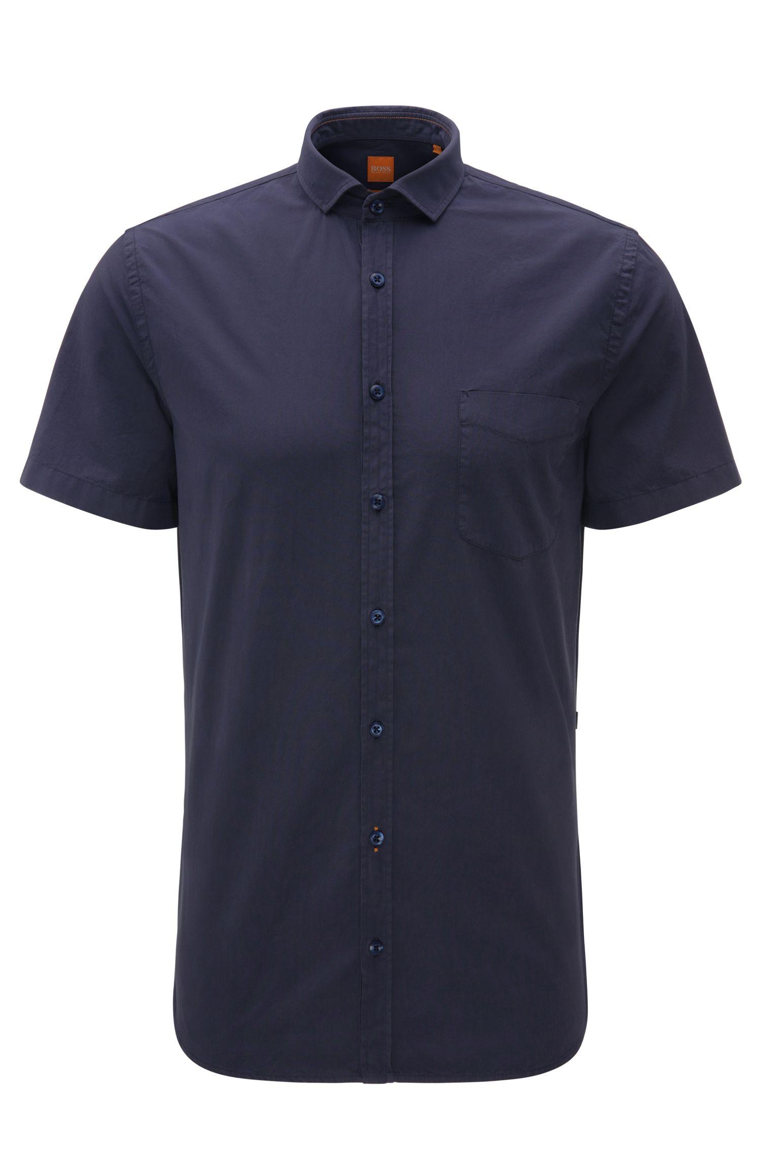 Camicia a maniche corte slim fit in cotone: 'Cattitude-short'