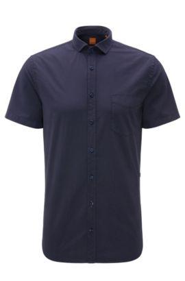 Camicia a maniche corte slim fit in cotone: 'Cattitude-short', Blu scuro