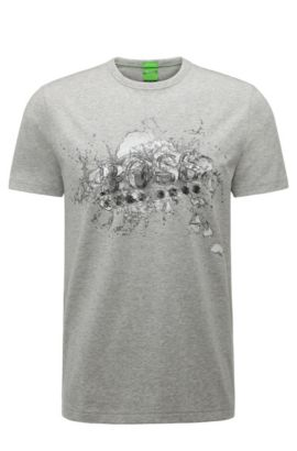 Camiseta estampada regular fit en algodón elástico: 'Tee 8', Gris claro