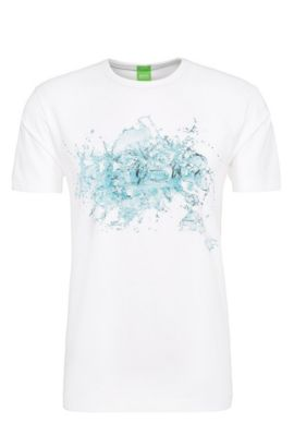 T-shirt imprimé Regular Fit en coton extensible : « Tee 8 », Blanc