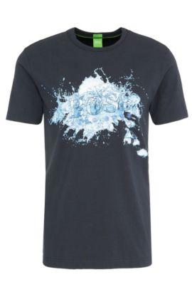 Regular-Fit Print-Shirt aus elastischer Baumwolle: ´Tee 8`, Dunkelblau