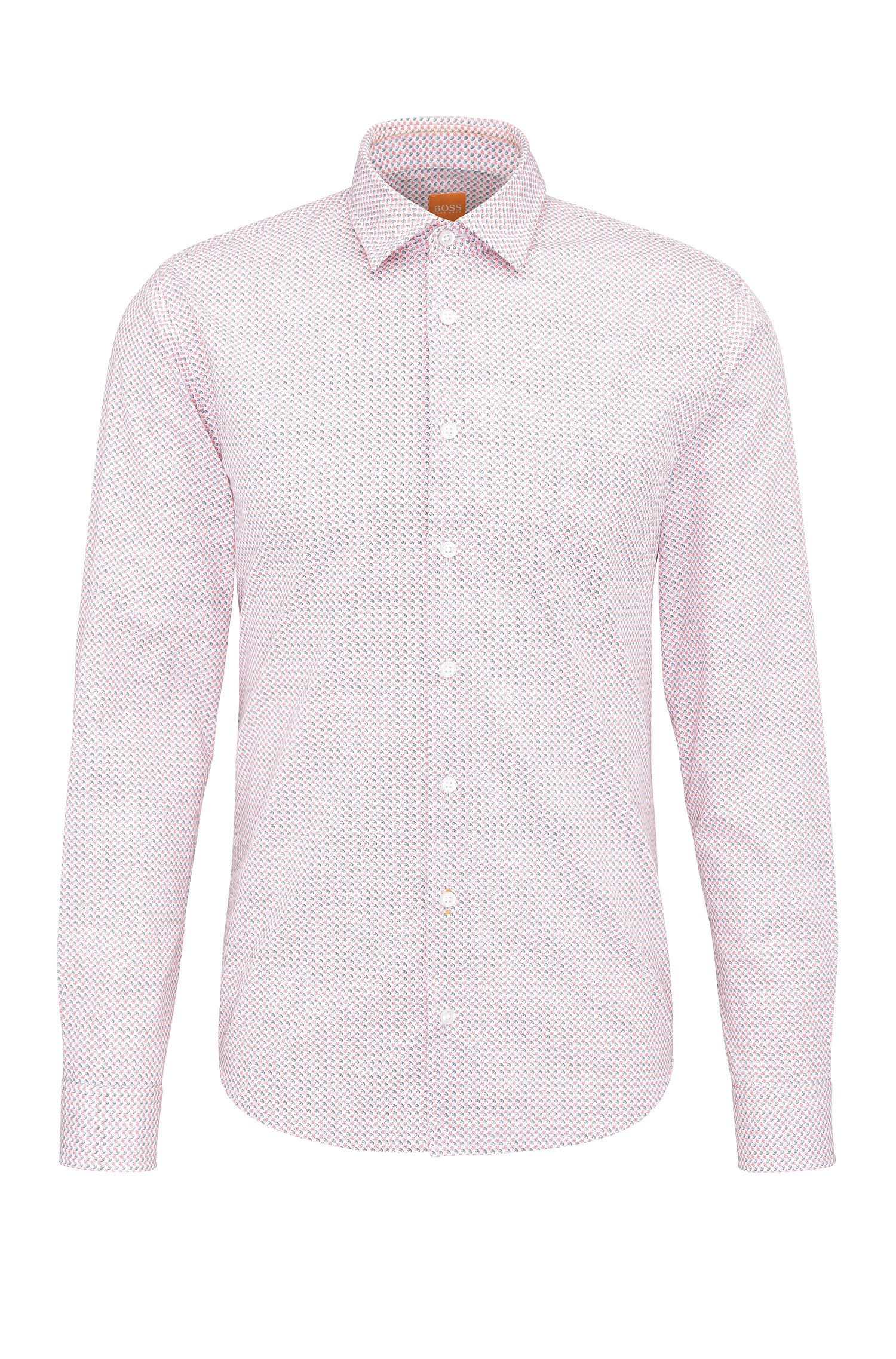 Finely patterned slim-fit cotton shirt: 'Epop'