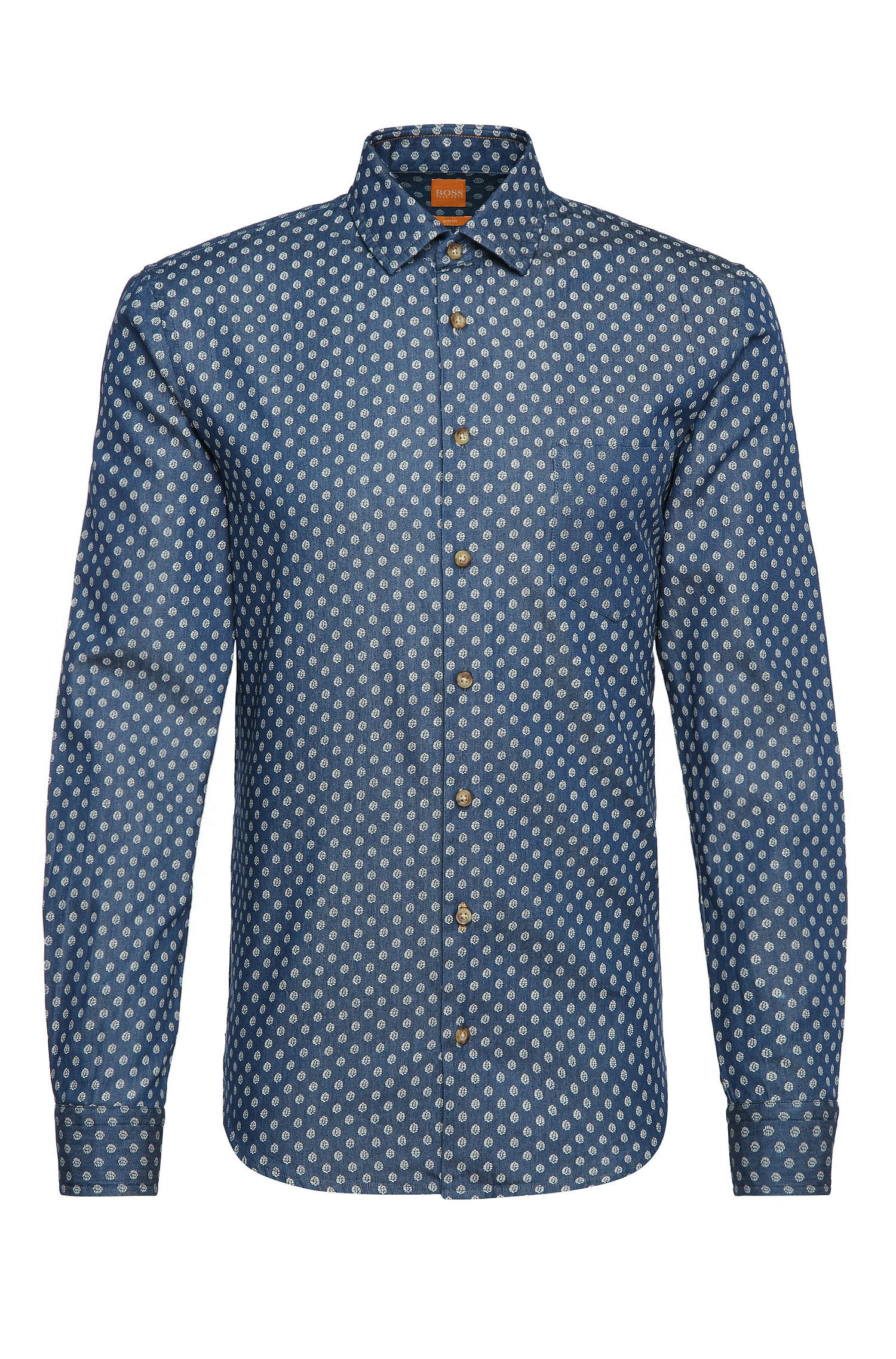 Slim-fit polka dot pattern shirt in cotton denim: 'Epop'