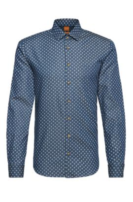 Camicia in denim slim fit in cotone a pois: 'Epop', Blu scuro