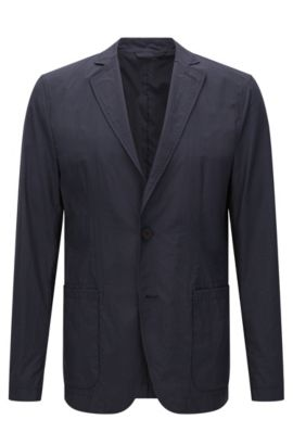 Storable slim-fit Travel Line jacket in material blend: 'Noas', Dark Blue