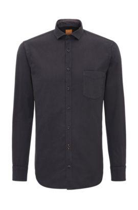 Camisa slim fit en algodón: 'Cattitude', Negro