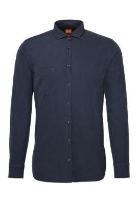 Camisa slim fit en algodón: 'Cattitude', Azul oscuro