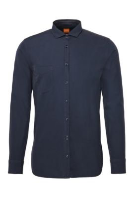Slim-Fit Hemd aus Baumwolle: ´Cattitude`, Dunkelblau