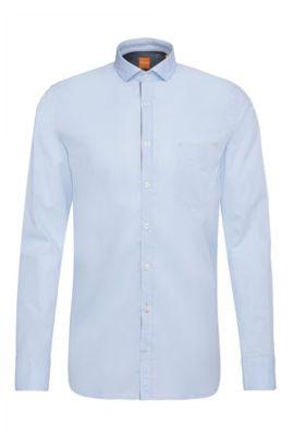 Slim-fit shirt in cotton: 'Cattitude', Dark Blue