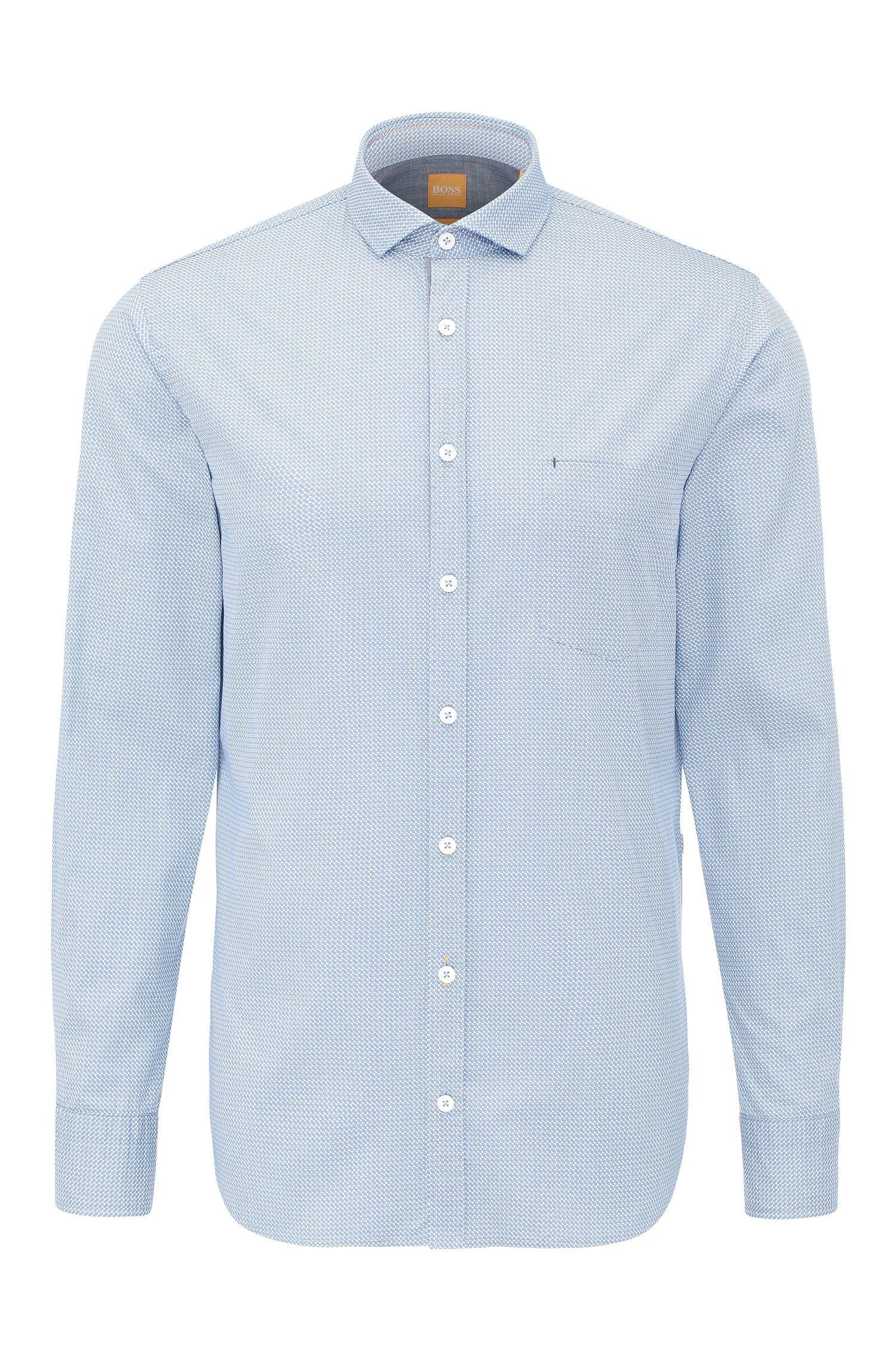 Camicia in cotone slim fit con stampa: 'Cattitude'