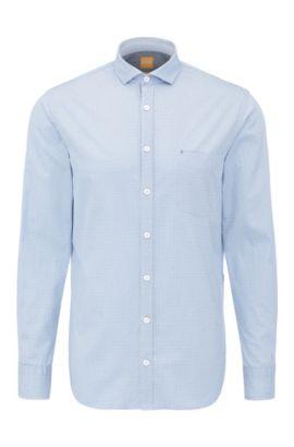 Camicia in cotone slim fit con stampa: 'Cattitude', Celeste