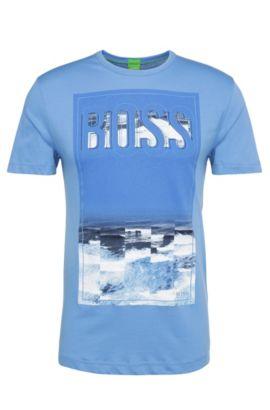 Regular-Fit Baumwollshirt mit Meer-Motiv: ´Tee 6`, Blau