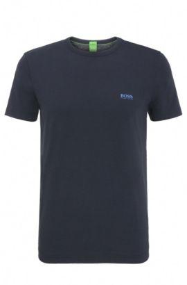 Maglietta regular fit in cotone con etichetta stampata dietro: 'Tee 5', Blu scuro