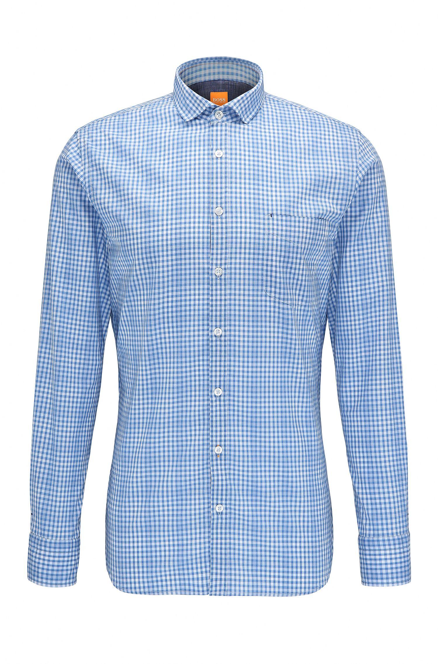 Camisa slim fit de cuadros en algodón: 'Cattitude'