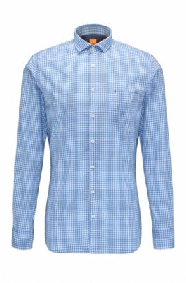 Checked slim-fit shirt in cotton: 'Cattitude', Open Blue