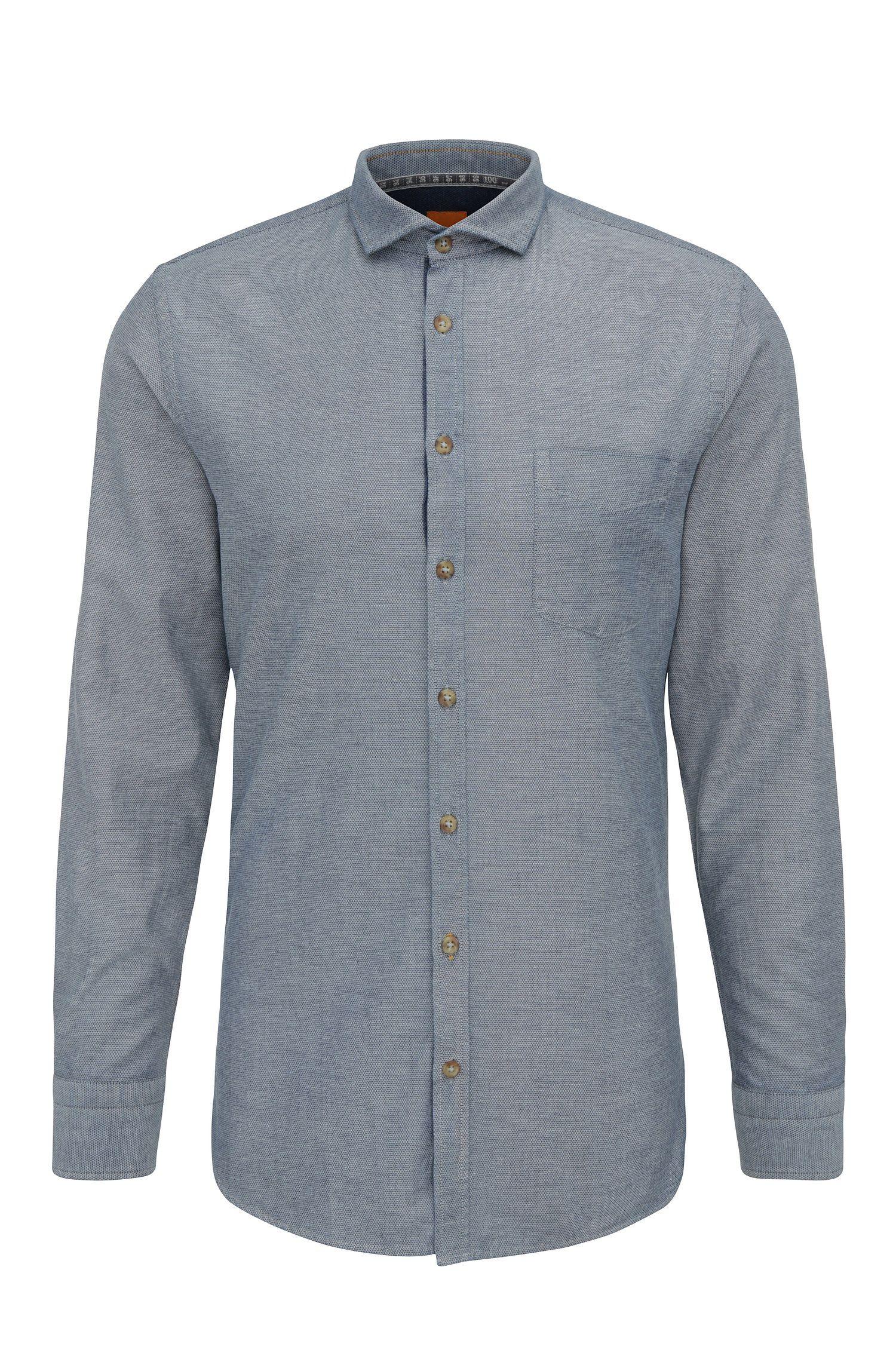 Textured slim-fit shirt in cotton: 'Cattitude'