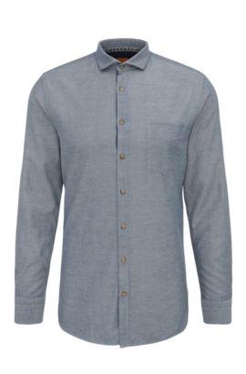 Textured slim-fit shirt in cotton: 'Cattitude', Dark Blue