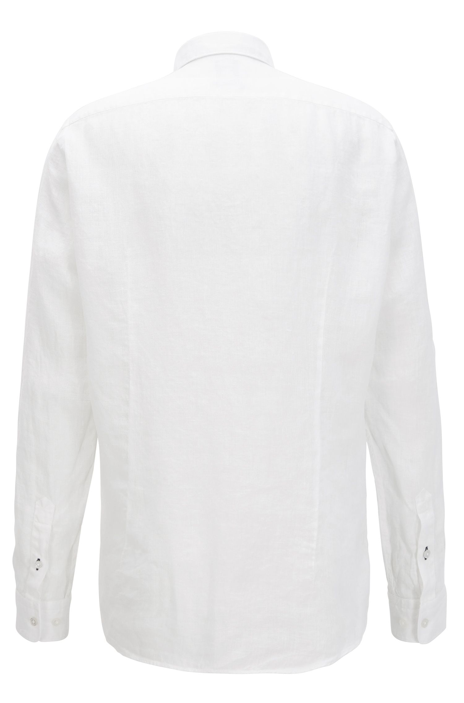 Camisa regular fit en lino italiano lavado, Blanco
