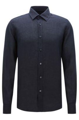 Camicia regular fit in lino in tinta unita: 'Lukas', Blu scuro