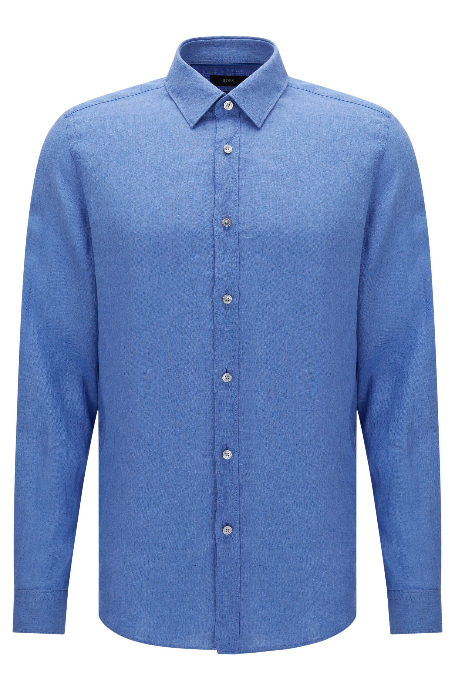 Camisa lisa regular fit en lino: 'Lukas'