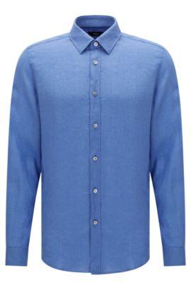 Camisa lisa regular fit en lino: 'Lukas', Azul