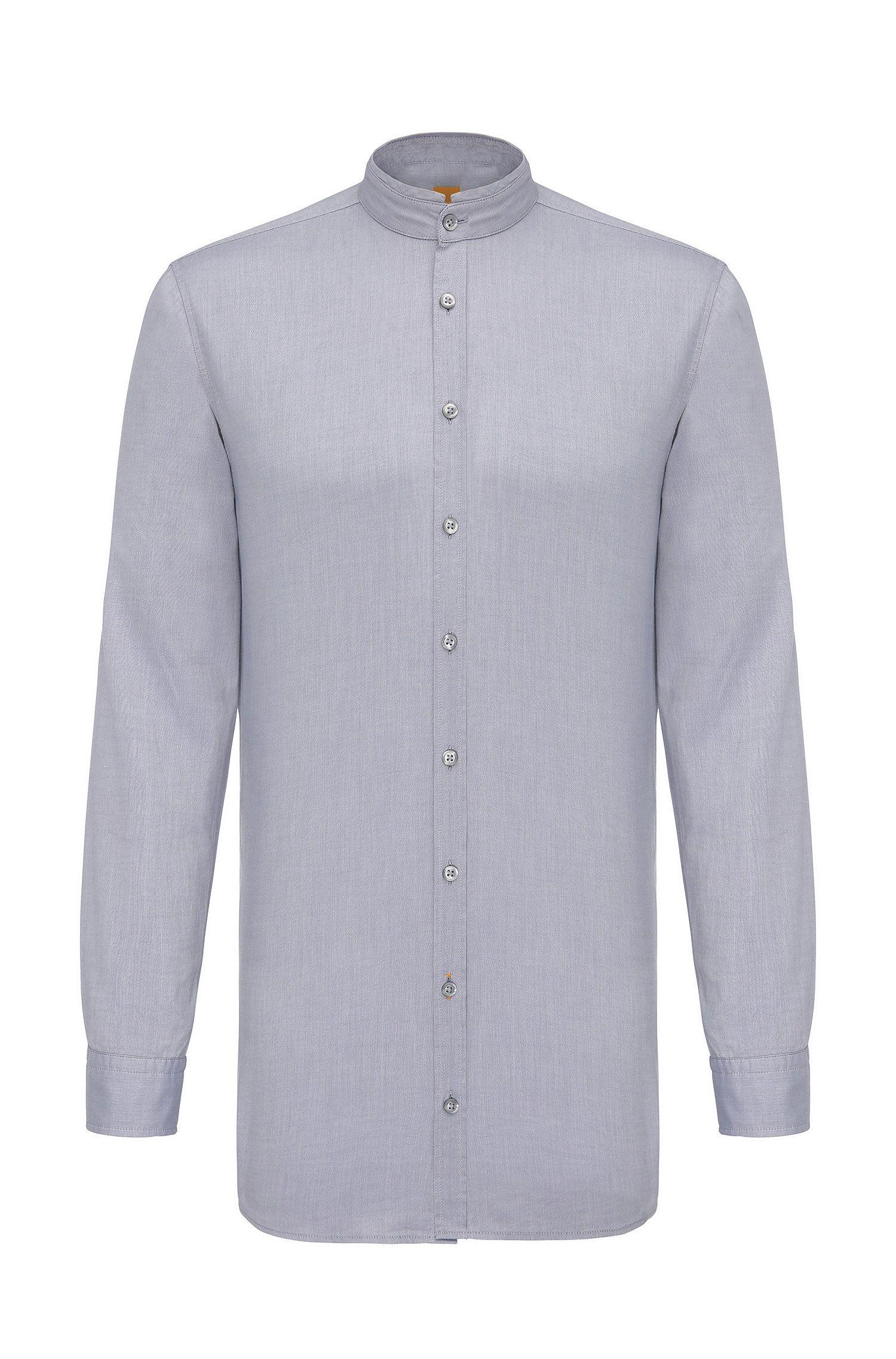 Regular-fit overhemd van katoen met opstaande kraag: 'Eeasy'