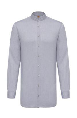 Regular-fit overhemd van katoen met opstaande kraag: 'Eeasy', Donkerblauw