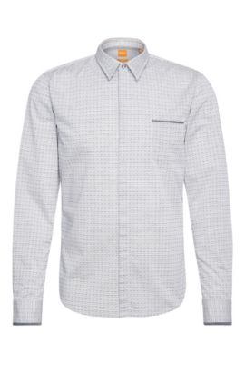 Slim-Fit Hemd aus Baumwolle mit Print: ´Eclash`, Dunkelblau