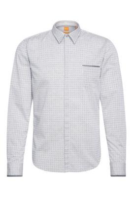 Slim-fit overhemd van katoen met print: 'Eclash', Donkerblauw