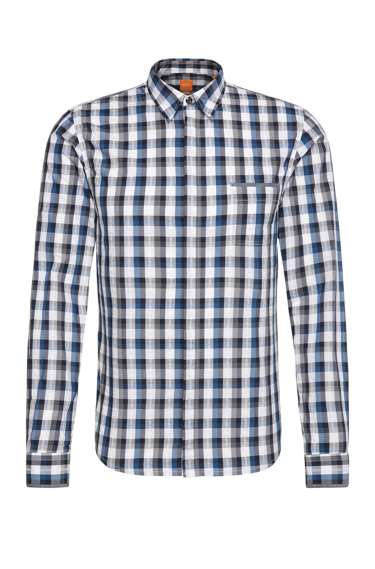 Camicia slim fit a quadri in cotone: 'Eclash'