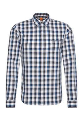 Checked slim-fit shirt in cotton: 'Eclash', Dark Blue