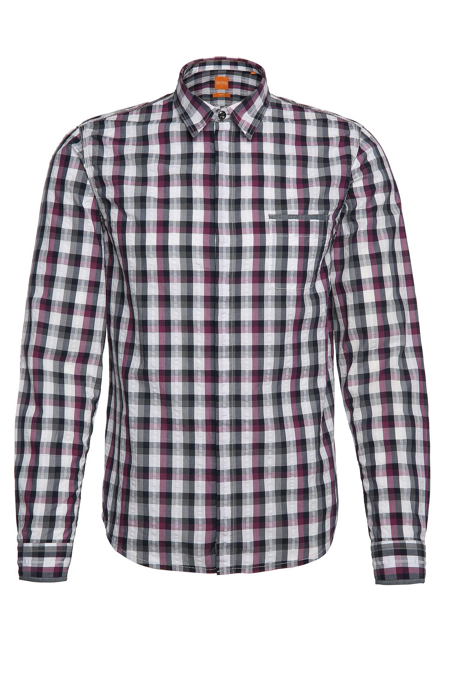 Camisa slim fit de cuadros en algodón: 'Eclash'