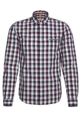 Camisa slim fit de cuadros en algodón: 'Eclash', Pink