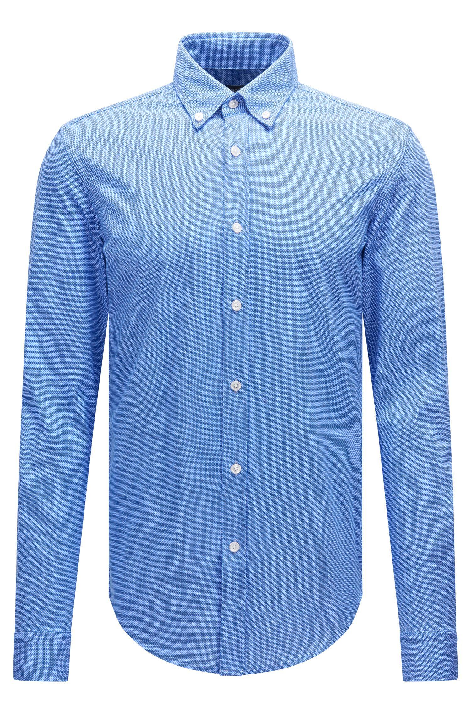 Gemustertes Slim-Fit Hemd aus Baumwolle in Jersey-Qualität: 'Rod'