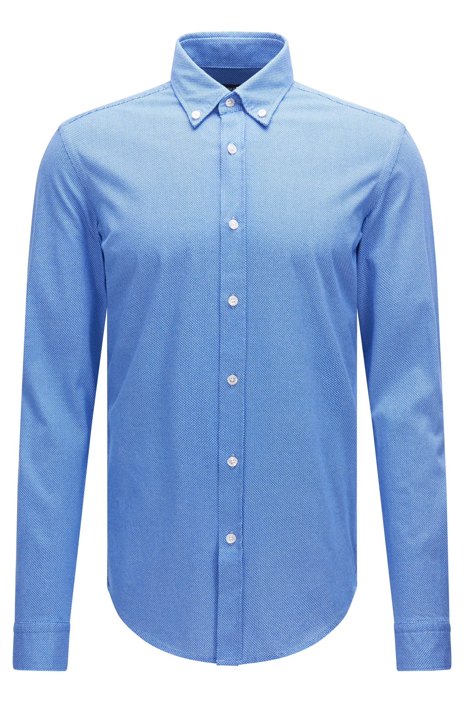 Patterned slim-fit shirt in cotton jersey: 'Rod'