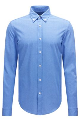 Patterned slim-fit shirt in cotton jersey: 'Rod', Blue