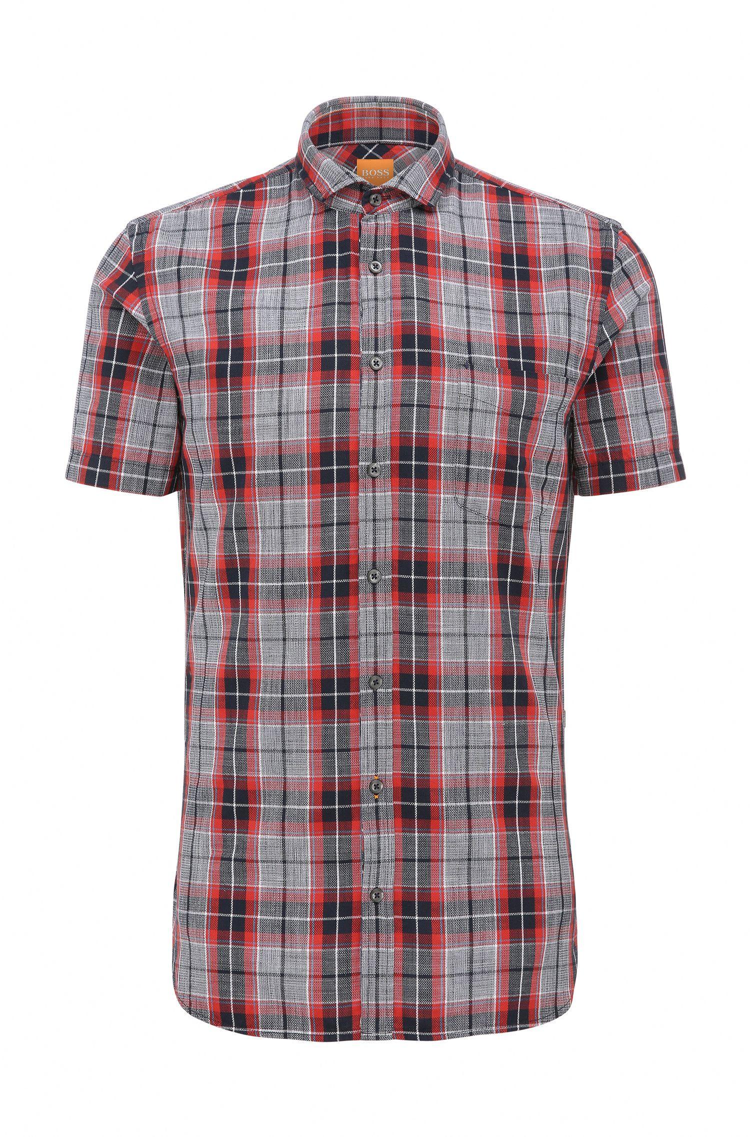 Kariertes Slim-Fit Baumwollhemd mit kurzen Ärmeln: ´Cattitude-short`