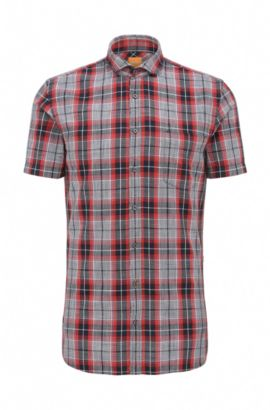 Checked slim-fit cotton shirt with short sleeves: 'Cattitude-short', Red