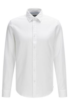 Chemise Regular Fit en coton structuré : « Lukas », Blanc